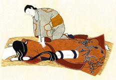 Antica stampa giapponese raffigurante lo shiatsu
